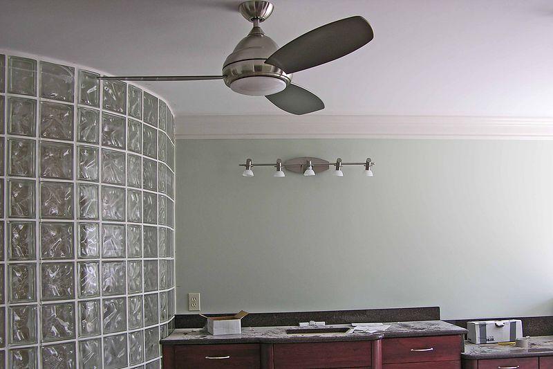 September 26 2004  Fan in bathroom and lamps above Pat's vanity