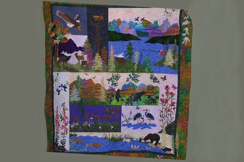 October 3 2004  Pat's awesome quilt - just finished - will hang on the wall next to bed