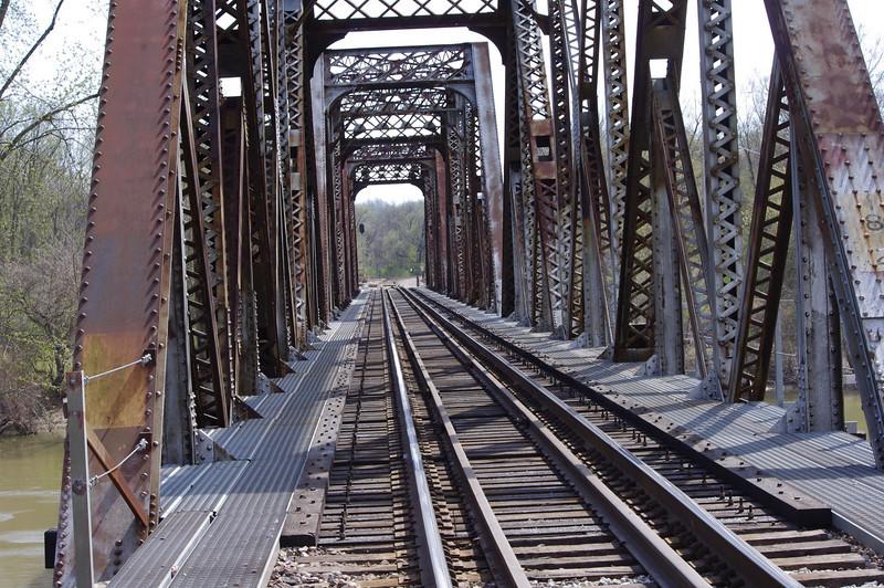 Train trestle that crosses the Meramec river in Valley Park