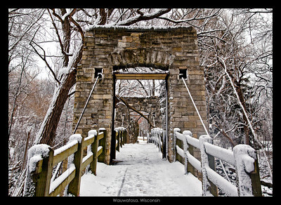 Weight of the snow....large portion of majestic tree fallen onto bridge from the weight of the wet snow in Wauwatosa Park