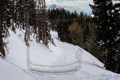 The trail back toward the Snake Creek lift with Mt. Timp in the top center..