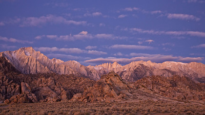 Sunrise on Mt. Whitney and Lone Pine Peak, Alabama Hills, Lone Pine, California