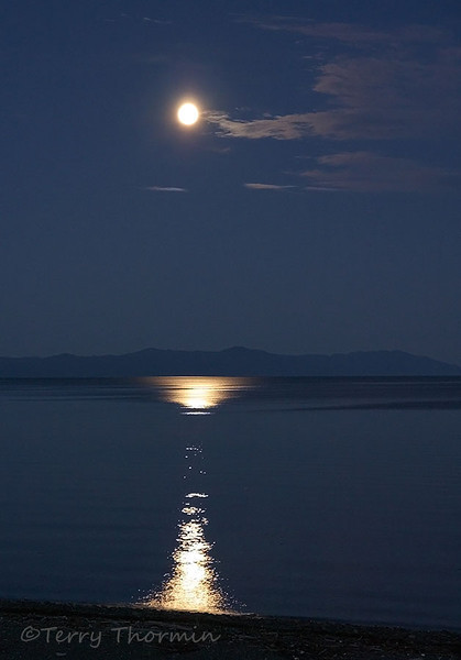 Moon rise over Strait of Georgia