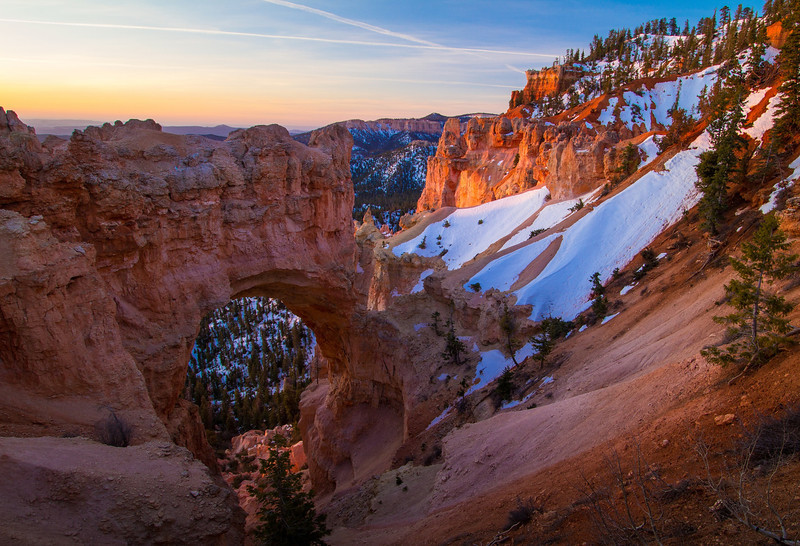 Natural Bridge in the early morning. Bryce Canyon National Park.