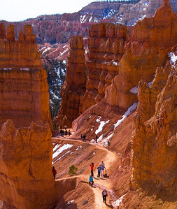 The columns of rocks resembling totem poles are called hoodoos, products of erosion over eons.