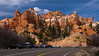 The highway between my motel and Bryce Canyon in Tropic, Utah featured access to The Mossy Cave-its roadside parking lot shown here.