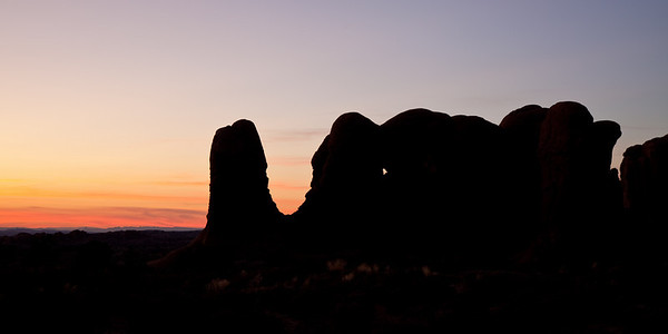 Sunset Behind Elephant Rock - Arches National Park