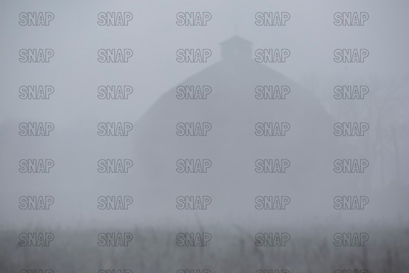 Round Barn In A Fog