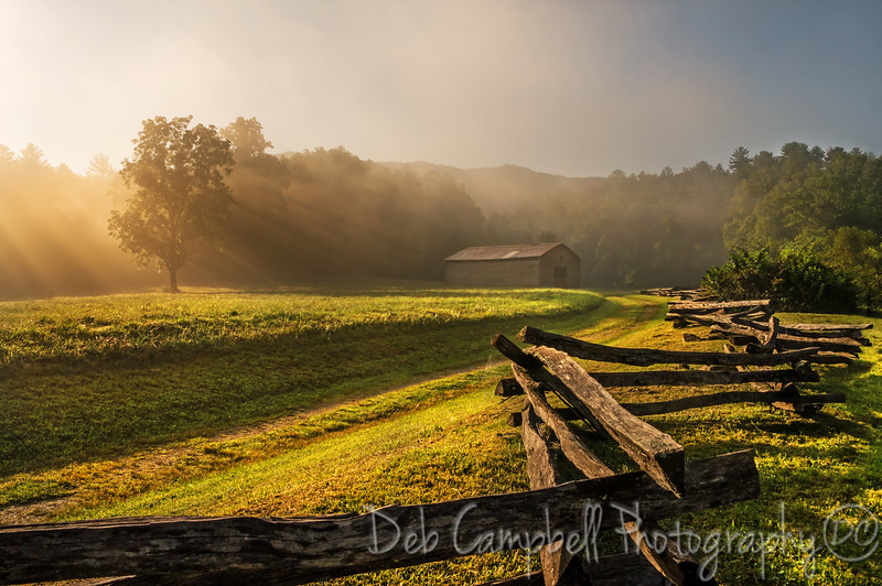 Magical Morning light at the Dan Lawson Place.<br /> Cades Cove<br /> Great Smoky Mountains
