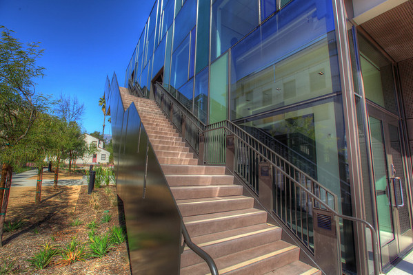 """Outside staircase, Annenberg """"cube"""" at Cal Tech."""