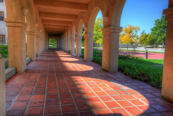 Stately arches on the campus of Cal Tech, Pasadena, California.