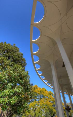 Beckman Auditorium on the California Institute of Technology campus, Pasadena, California.