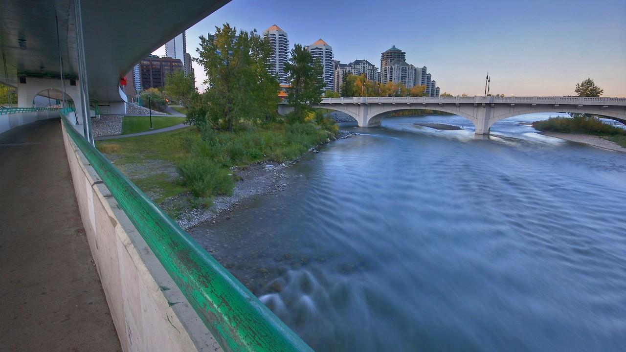 Calgary looking Southwest on LRT bridge in in Fall