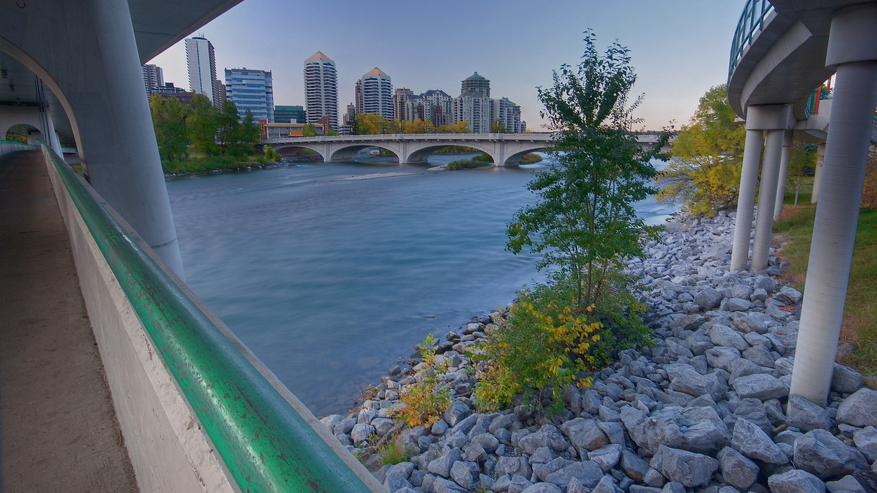 Calgary looking west on LRT bridge in in Fall