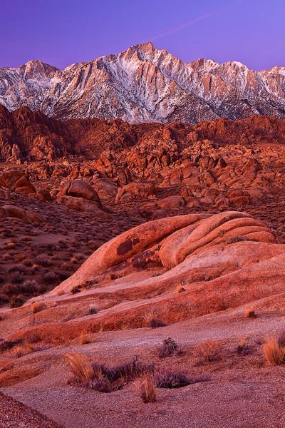 California, Eastern Sierra, Alabama Hills, Mount Whitney, Dawn Twilight, Rocks, Landscape, 加利福尼亚, 惠特尼峰, 黎明, 风景