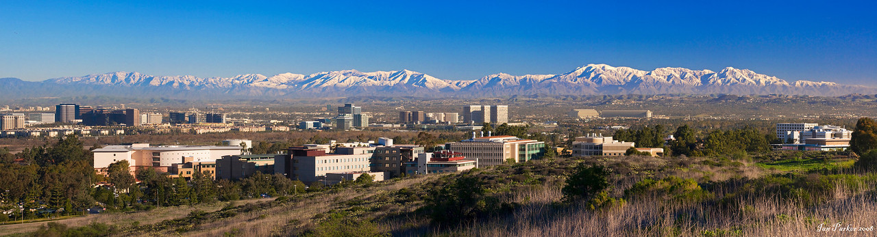 UC Irvine and snow-covered Angeles Crest