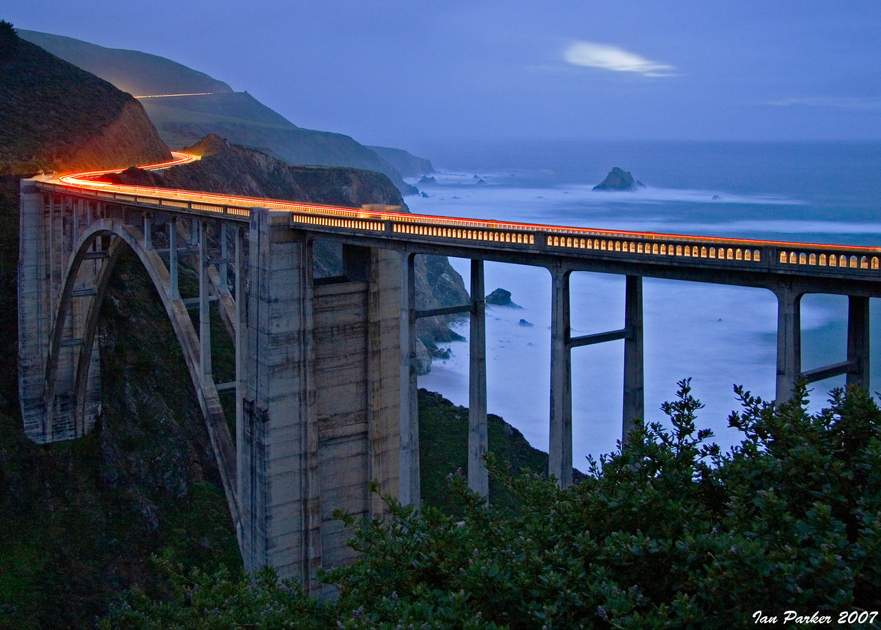 Light trails across Bixby Bridge; Big Sur