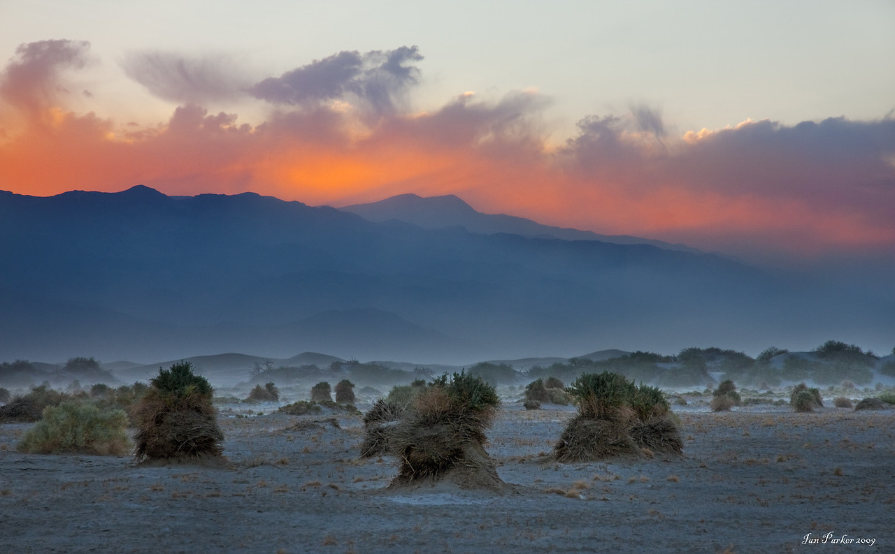 Sandstorm over Devil's Cornfield,; Death Valley