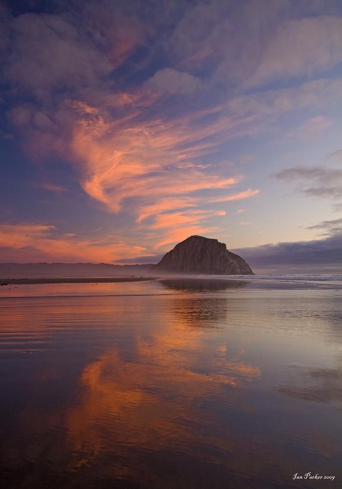Morro Rock cloudscape reflections