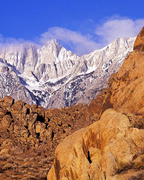 Alabama Hills and Mt Whitney. Early morning, winter