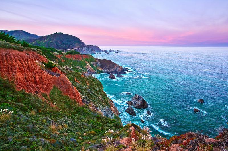 California, Central Coastline, Big Sur, Sunrise Landscape 加利福尼亚 风景