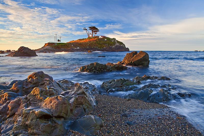 California Northern Coastline, Crescent City, Battery Point Lighthouse, Sunrise, Redwood National Park, Landscape 加利福尼亚 红杉树国家公园 海滩 风景