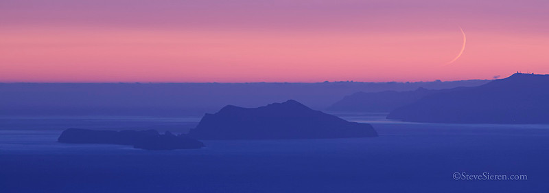 A view of Channel Islands National Park and a crescent moon from the Santa Monica Mountains