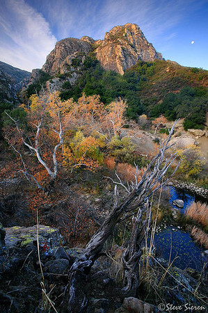 Moonset Santa Monica Mountains Fall Color 2008 Near Malibu and Calabasas, California