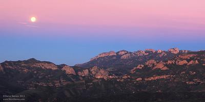 Full Moon setting in Earth's Shadow, Tri Peaks - Boney Mountain Wilderness