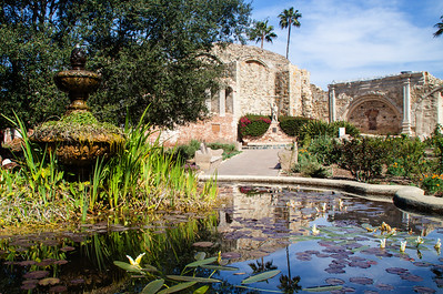 Fountain and Old Mission Ruin, San Juan Capistrano