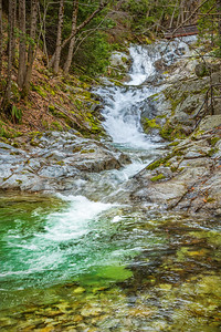A lower cascade of Brandy Creek Falls, Whiskeytown National Recreation Area, is reached by hiking a moderately steep 1.5 mile trail from the end of a park road. Here Brandy Creek meanders over Copley Greenstone and continues its descent over a series of other cascades, terminating in Whiskeytown Lake near Redding, CA.