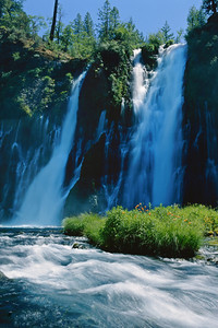 Burney Falls plunges 129 feet into a pool 22 feet deep. The water temperature is usually between 42 and 48 degrees with a daily flow estimated at 100 million gallons.