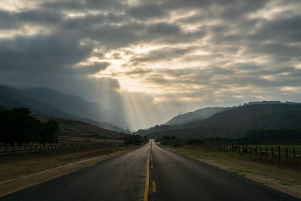Sun Rays on the Roadway at Big Sur