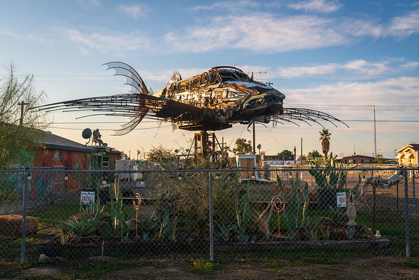 Sculptor of a fish-plane at Bombay Beach in the Salton Sea