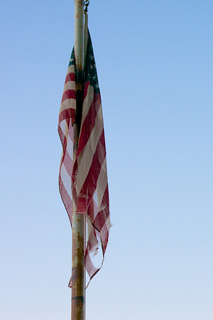 Tattered Old American Flag