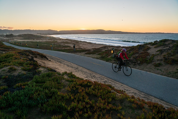 Cyclist At Sunset on Fort Ord Dunes State Park Multiuse Trail