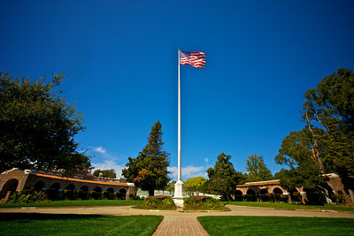 The American Flag stands above Los Angeles National Cemetery
