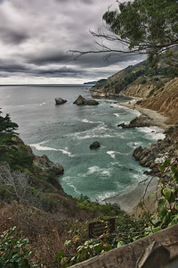 The stormy Pacific shore along the Pacific Coast Highway.