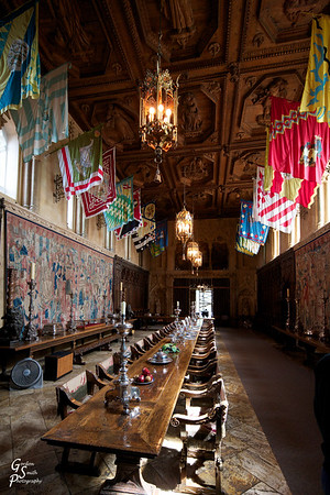 Dining Hall Hearst Castle surrounded by tapestries and banners