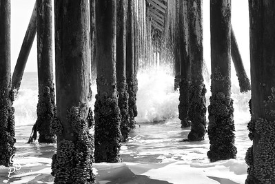 Pacific Wave and Pier collide as the water moves through the pilings at San Simeon beach