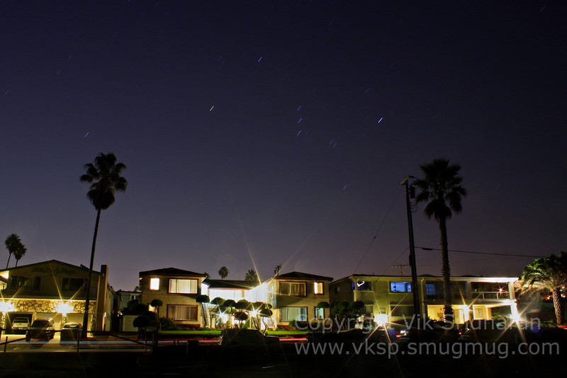 Orion rising over houses by Torrance Beach.