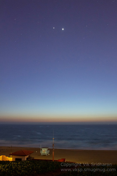 Jupiter and Venus at their closest pass to each other (as viewed from Earth, that is) over Torrance Beach.