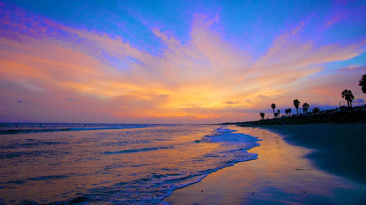 Blue Orange Ocean Sunset