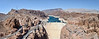 Panoramic composite of Hoover Dam as seen from the Mike O'Callaghan–Pat Tillman Memorial Bridge.