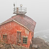 """Lands End"" - Red Lichen covered Fog Signal Building - Point Reyes Light House, Marin Co., CA"