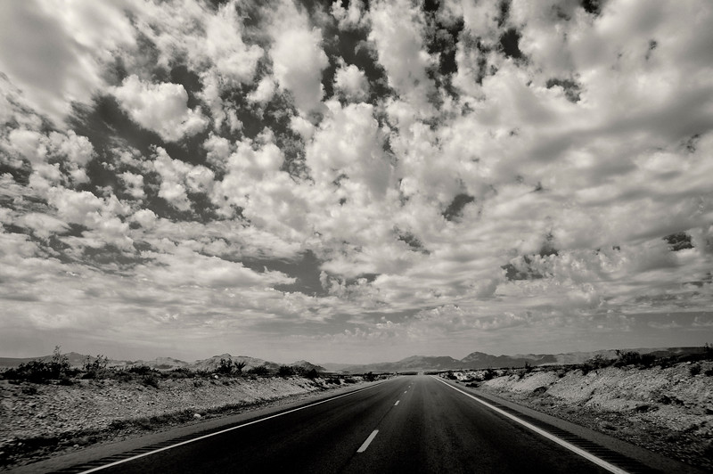 "The road to Stateline and Primm Nevada. <br /> <br /> Duotoned Version.  See color version here: <a href=""http://rappensuncle.smugmug.com/Landscapes/California/28333442_mNp6h7#!i=2533503262&k=fMcDs96&lb=1&s=A"">http://rappensuncle.smugmug.com/Landscapes/California/28333442_mNp6h7#!i=2533503262&k=fMcDs96&lb=1&s=A</a>"