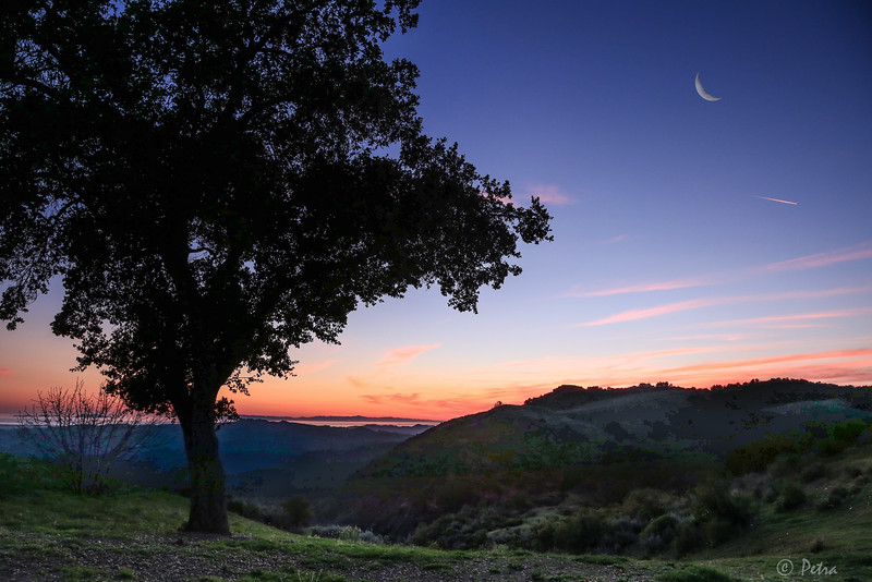 Top of the Mountain above Ojai - with waning Moon crescent
