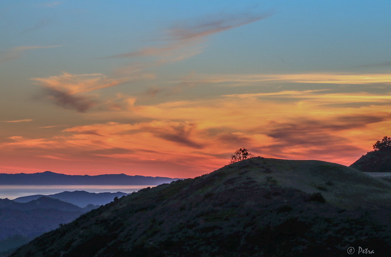 "Sunset view from the ""Sanctuary for Peace"" on the mountains above Ojai - with Pacific Ocean in the background"