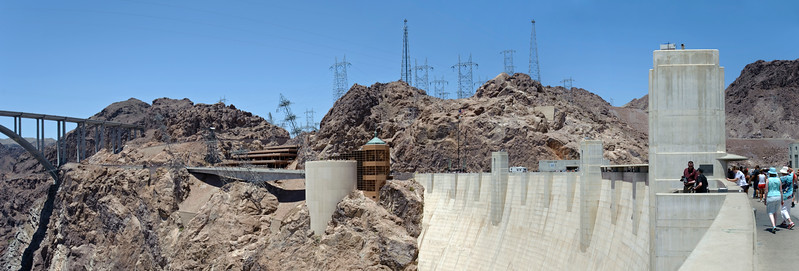 Composite image of the view standing on hoover Dam.
