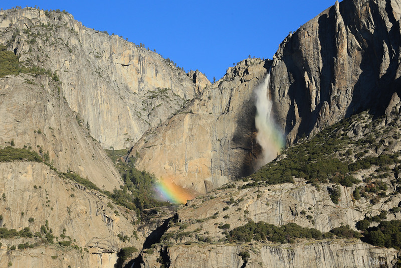 Yosemite Falls  -  apparently this rainbow effect is only seen at times during the winter, when the sun is at the   perfect angle to create  the rainbow effect on the mists of the waterfall